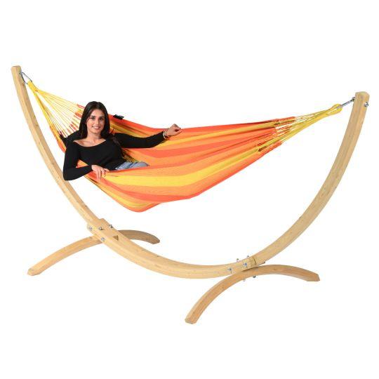 Hängematte mit Gestell 1 Person Wood & Dream Orange