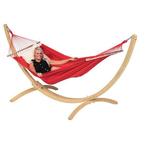 Hängematte mit Gestell 1 Person Wood & Relax Red