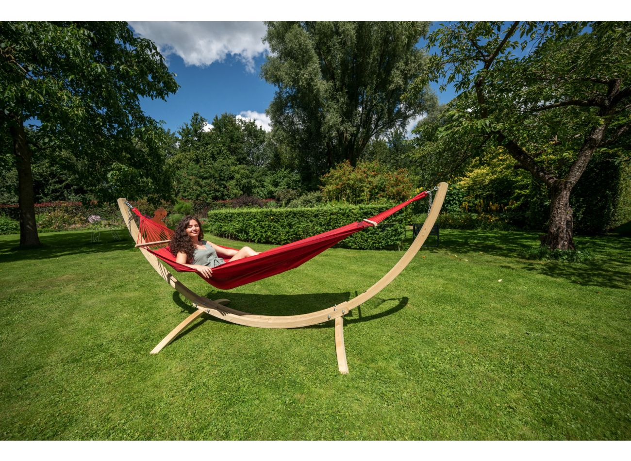 Hängematte mit Gestell 1 Person Wood & Relax Red